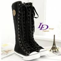 《LD image》韓式作風-經典星星圓徽長統帆布靴.黑色