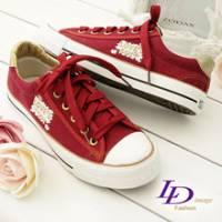 《LD image》搖滾熱情 金邊LOVE'S拼圖壓徽帆布鞋(活力紅)