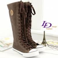《LD image》韓式作風-經典星星圓徽長統帆布靴.咖啡