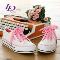 《LD image》經典再現-綁帶厚底休閒帆布鞋.白