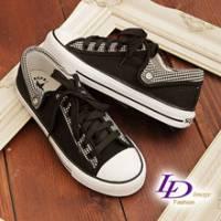 《LD Image》英倫學院 時尚黑白拼接經典格紋帆布鞋.黑