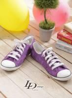 【LD image】少女殺手.微笑骷髏圖騰休閒帆布鞋.紫
