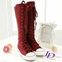 《LD image》百變甜心.經典性感長筒造型帆布靴(華豔紅)