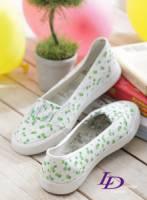【LD image】春花洋溢.小花朵朵休閒娃娃鞋.翠綠