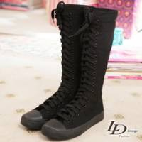 《LD image》亮麗美學.素質純色厚底帆布靴.黑