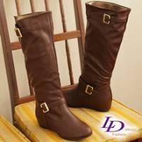 《LD image》時尚學院 經典雙C金質釦環內增高長靴.咖啡