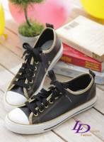 【LD image】閃耀之光.亮麗燙金滾邊車線休閒帆布鞋.黑金