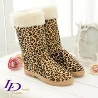 《LD image》甜美悄皮.個性雲豹紋休閒雪靴(野性咖)
