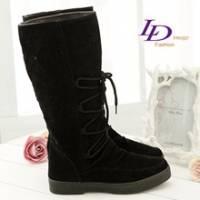《LD image》帥氣戀澤.心影浮水印雙色絨布長筒靴.灰黑色