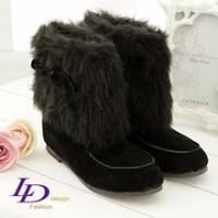 《LD image》華麗魅力.奢華皮草蝴蝶結絨布短筒靴.成熟黑