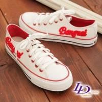 《LD image》玩色主義 字母立體毛編壓徵美式街頭帆布鞋.亮麗紅