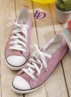 【LD image】懷舊風情.紅色【復刻】千鳥格紋帆布鞋