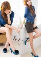 【LD image】格布學院風~任意小花夾高跟鞋.藍