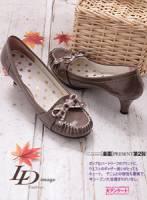 【LD image】車皺格紋蝴蝶結漆皮低跟鞋-可可