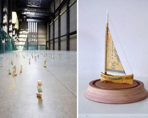 用紙鈔作成的小船,打造世界貨幣河流