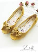 《I-shi》沁透女神~蝴蝶結水鑽綴飾平底鞋 黃
