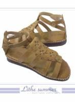 ☆幸運之花☆小牛皮卯釘綴飾條紋氣墊鞋 棕