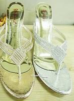 奢華高跟鑲鑽氣質涼鞋~金