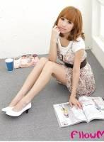 ★FllowMe★通勤定番-質感漆皮印花百搭跟鞋-白色