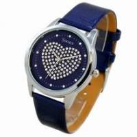 《Mirabelle》水鑽心型*甜美感皮革錶-深藍