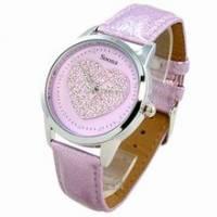 《Mirabelle》水鑽心型*甜美感皮革錶-紫