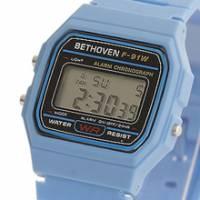 Bethoven 那一年,女孩 輕薄時尚電子腕錶 淺藍