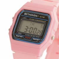 Bethoven 那一年,女孩 輕薄時尚電子腕錶 粉紅