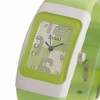 Dinal 粉彩數字 女孩專屬甜心腕錶 綠