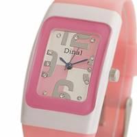 Dinal 粉彩數字 女孩專屬甜心腕錶 粉紅