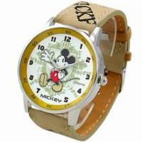 《Disney 迪士尼》招手米奇復古錶 黃