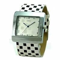 ✜Lotto123‧紐約普普風 方塊圖案造型手錶-白