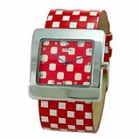 ✜Lotto123‧紐約普普風 方塊圖案造型手錶-紅
