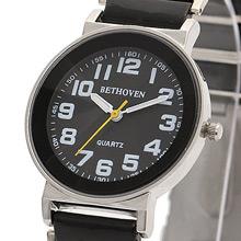 Bethoven 黑色奇跡 都會時尚腕錶 (白時標)