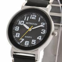 Bethoven 黑色奇跡 都會時尚腕錶 白時標