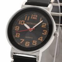 Bethoven 黑色奇跡 都會時尚腕錶 黃時標