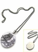 《完美比例》雙面戴金屬雕刻貓頭鷹項鏈