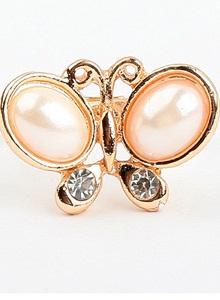 《完美比例》氣質珍珠蝴蝶開口戒指