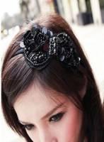 黑色珠珠朵朵頭箍~黑