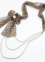 《完美比例》蝴蝶結三層珍珠項鏈 豹紋