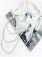 《完美比例》蝴蝶結三層珍珠項鏈(白色)