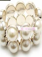 雙排珠珠金邊優雅大方手鐲 白