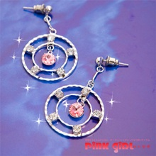 《pink girl》成雙成對~晶瑩環狀開運粉鑽耳環