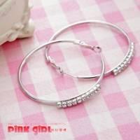 【pink girl】自然簡約‧大圓排鑽獨特豪華耳環