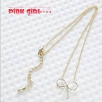 【pink girl】俏麗可愛‧金色甜美蝴蝶結造型項鍊