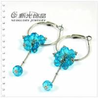新光飾品‧藍色妖姬圓形水晶耳環 EH88032