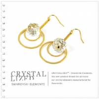 新光飾品‧白色魅影圓球水晶耳環 EH88029