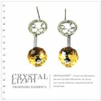 新光飾品‧黃色魅影圓珠形水晶耳環 EH88052