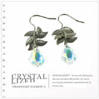 新光飾品‧七彩佳麗妹妹樹葉水晶耳環EH88057