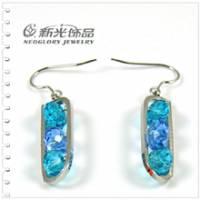 新光飾品‧藍色佳人水珠形水晶耳環 EH88037