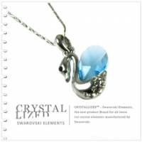 新光飾品‧藍色妖姬韓版多情天鵝水晶項鏈XL88081